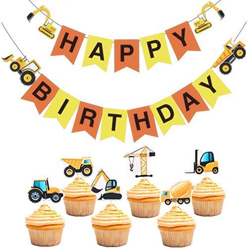 Construction Zone Banner and Cupcake Topper Birthday Theme Party Supplies Dump Truck Bulldozer Excavator Garland Cake Picks Decorations