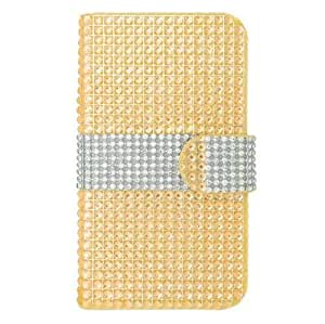 Yellow Silver Bling Gem Jeweled Crystal Folio Cover Case for LG Volt LS740