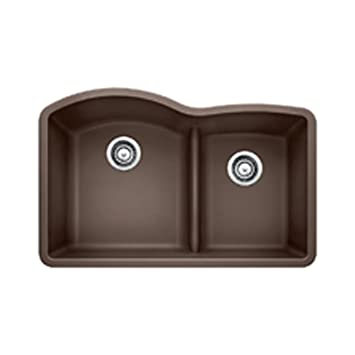 Blanco 441597 Diamond 1.75 Low Divide Under Mount Double Bowl Kitchen Sink,  Large, Cafe