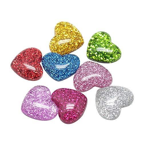 ARRICRAFT 200pcs Plastic Resin Cabochons 16mm Flat Back Glittery Heart Cabochon Embellishments for Craft Scrapbooking Jewelry Making