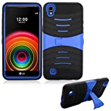 Phone Case for Straight Talk L53BG LG X-Style 4G LTE / LG Tribute-HD (Boost Mobile) Rugged Heavy Duty Armor Cover Stand (Armor Case Black-Blue Stand)