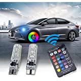194 LED Light Bulb,Leadtops T10 Car Lights RGB With Remote Control 194 168 501 for W5W Strobe Led Lamp 5050 (2 Pieces)