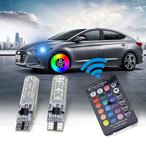 194 LED Light Bulb,Leadtops T10 Car Lights RGB With Remote Control 194 168 501 for W5W Strobe Led Lamp 5050 (2 Pieces) ()