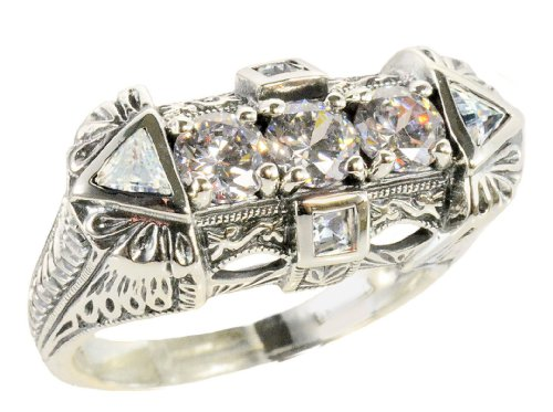 Art Deco Style Sterling Silver Filigree Cubic Zirconia Ring (sz6) ()