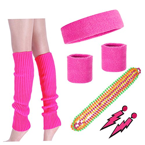 Costume 80s Fancy Outfit Accessories Set - Neon Running Headband Leg Warmers