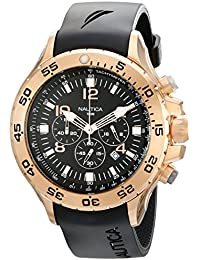 Men s N18523G NST Black Rose Gold-Tone Stainless Steel Dress Watch 51742c89e088