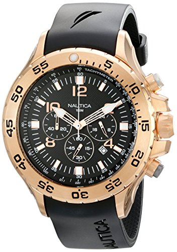 Nautica Men's N18523G NST Black/Rose Gold-Tone Stainless Steel Dress Watch, - Swiss Mens Rose