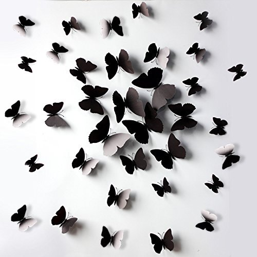 FLY SPRAY Creative 24pcs Vivid Black Butterfly Mural Decor Removable Wall Stickers with Adhesive Decals Nursery Decoration 3D Crafts (Blog Halloween Craft)