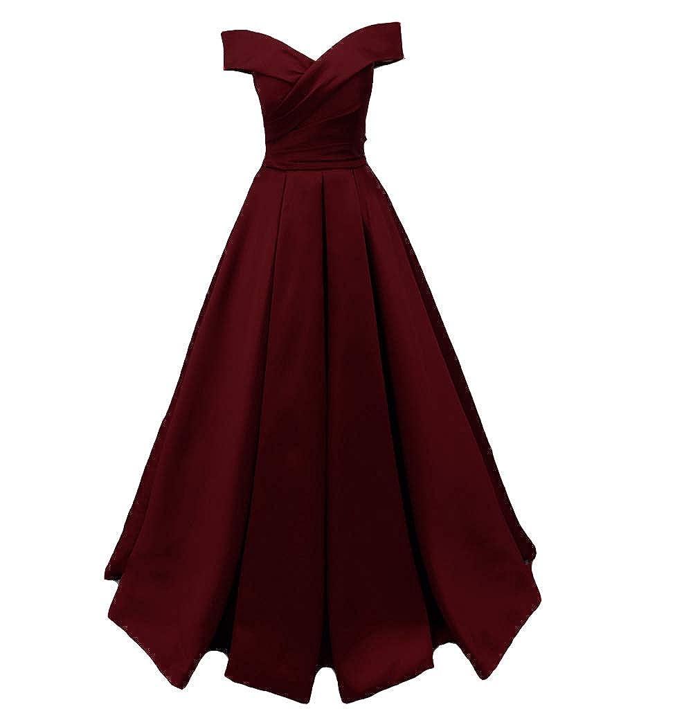 Burgundy Kivary Long Off The Shoulder Satin V Neck Formal Corset Prom Dress Evening Gown
