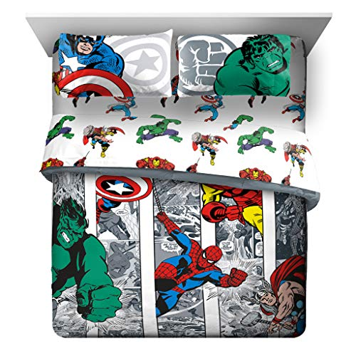 Jay Franco Marvel Avengers Comic Cool 7 Piece Queen Bed Set – Includes Comforter & Sheet Set – Bedding Features Captain America, Spiderman, Iron Man, Hulk, Thor – Super Soft (Official Marvel Product)