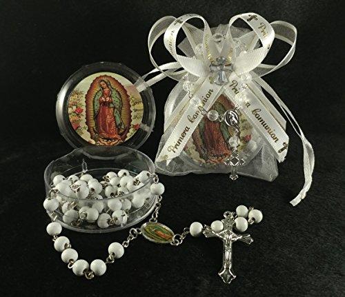 Mi Primera Comunion 12 Organza. Favor Bags Gift. Recuerdo de Primera comunion nino o nina. 12 Rosarios De Nuestra virgen de Guadalupe