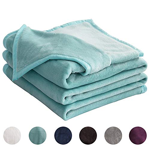LIANLAM Fleece Blanket Lightweight Super Soft and Warm Fuzzy Plush Cozy Luxury Bed Blankets Microfiber (Turquoise, Throw(43