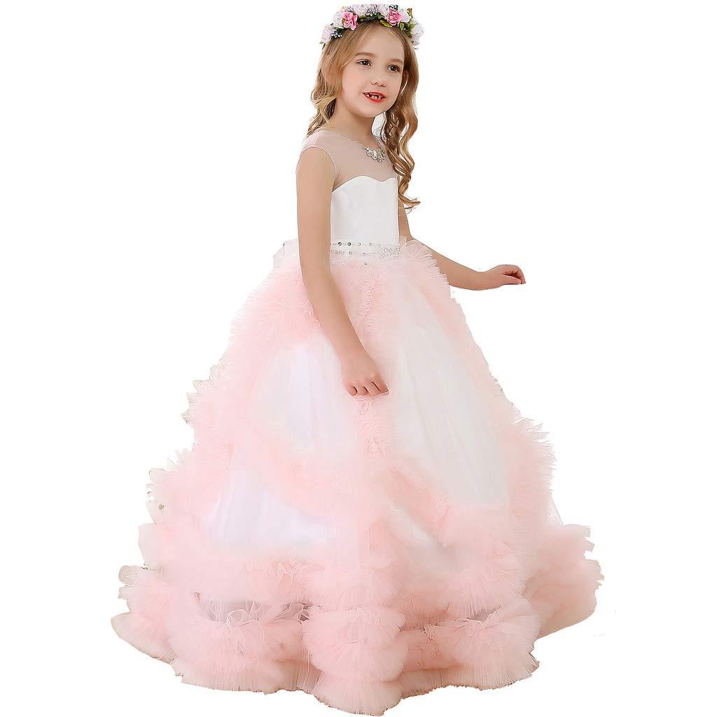 bleush Rose 2_ans Bow Dream Pierre Tulle Robe de Fille d'Honneur Cérémonie de Mariage