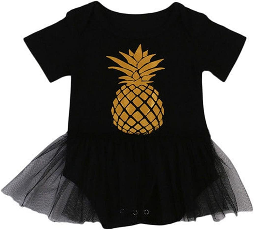 Efaster Toddler Baby Girls Clothes,Short Sleeve Pineapple Print Mesh Romper