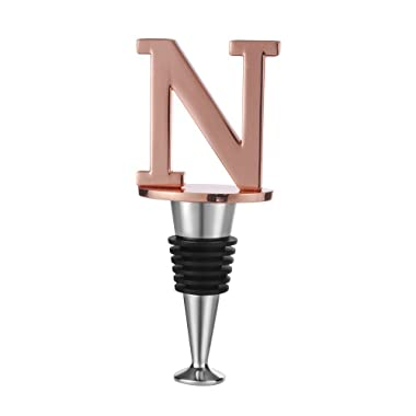 Wine and Beverage Bottle Stopper With Rose Gold Finish,N-Initial (Letter N)