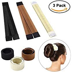 Sheevol Beauty Hair Bun Maker, Magic Bun Shaper Donut Hair Styling Making DIY Curler Roller Hairstyle Tools, French Twist Doughnuts Hair Accessories - 3 Pack