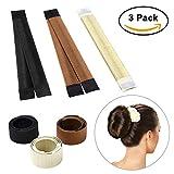 #7: Sheevol Beauty Hair Bun Maker, Magic Bun Shaper Donut Hair Styling Making DIY Curler Roller Hairstyle Tools, French Twist Doughnuts Hair Accessories - 3 Pack