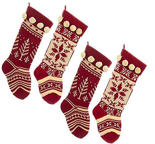 Kurt Adler Red And White Knit Stocking Set of 4]()