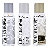 U.S. Cake Supply by Chefmaster Edible Spray Cake Decorating Color Metallic Theme 3-Pack - 1.5 ounce Cans (Gold, Silver, Pearl)