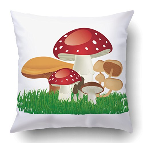 Grass Clipart - Emvency Throw Pillow Covers Colorful Cartoon of Cool Mushrooms with Grass Sketch Agriculture Autumn Cap Clipart Collection Polyester 18 X 18 Inch Square Hidden Zipper Decorative Pillowcase