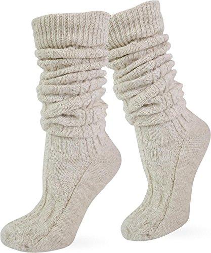 Trachten Umschlag Socken im Landhaus-Stil mit aufwändiger Applikation Farbe Naturmelange extra lang Größe 43/46