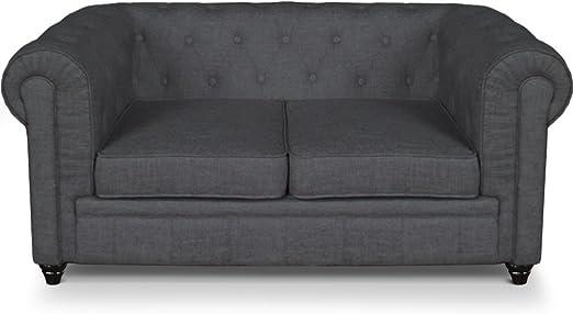 Menzzo A605l2 contemporáneo para sofá de 2 plazas lino, color Gris efecto madera 80 x 157 x 72 cm: Amazon.es: Hogar