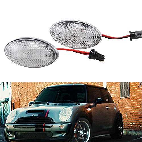 Clear Lens Amber Led Side Marker - NSLUMO Amber Led Trailer Side Marker Lamp for Mini Cooper R50 R52 R53 Replace OEM part# 63137166014