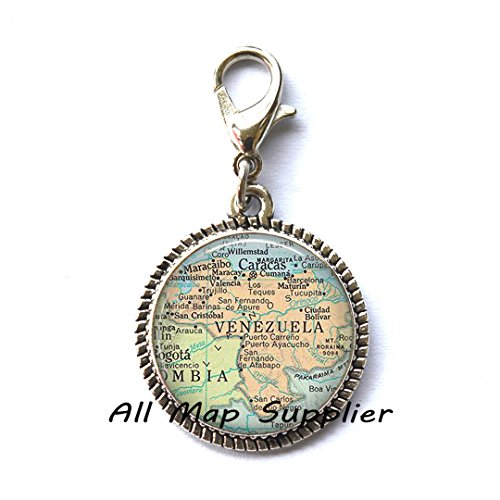 Beautiful Zipper Pull,Venezuela map Charming Zipper Pull, Venezuela map Zipper Pull, Venezuela Charming Zipper Pull, Venezuela Zipper Pull, map jewelry ,A0100