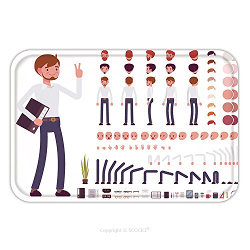 Character Creations Costumes (Flannel Microfiber Non-slip Rubber Backing Soft Absorbent Doormat Mat Rug Carpet Male Clerk Character Creation Set. Build Your Own Design. Cartoon Vector Flat Style Infographic Illustration for Indoor)
