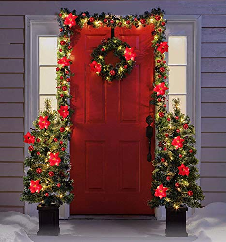 Veryhome Christmas Garland 9 FT with Led String Lights Ball Ornaments Artificial Poinsettia Flowers Wreath for Andiron Window Door Home Decoration (Red)