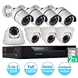 LONNKY 8CH FULL 1080P Intelligent 5-in-1 DVR Security System with 8 Outdoor 2.0MP CCTV Security 4 Bullet and 4 Dome Camera, 2TB HDD Hard Driver, Support Face Detection, Smartphone Remote Viewing