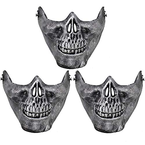 HAUSHION Halloween Hunting Ski Skull Airsoft Paintball Wargame Protect Gear Half Face Skeleton Mask CS Costume -