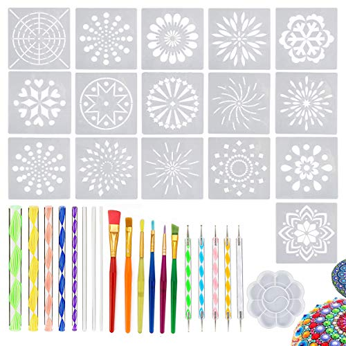 - 36 PCS Mandala Dotting Tools Stencil Set, Dotting Tools, Brushes and Paint Tray for Painting Rocks Drawing & Drafting, Kids' Crafts, Nail Art, Painting (36 Pack)