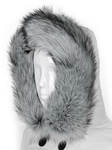 Futrzane Trim Hood Faux Fake Fur Hood Winter for Jacket Ski Collar Wrap Shawl (XS, Siberian Silver)