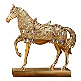 Golden Walking Horse Statue for Wealth ,Home Decoration Attract Wealth and Good Luck,Feng Shui Decor