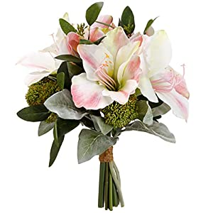 "13"" Amaryllis, Sedum & Lamb's Ear Silk Flower Bouquet -White/Pink (Pack of 4) 5"