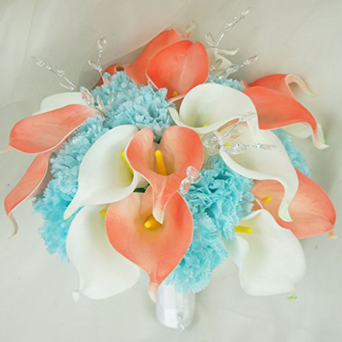 Lily Garden Real Touch Calla Lily Coral and White and Carnation Turquoise Flowers Wedding Bouquet (Wedding Bouquet)