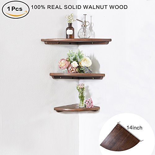 INMAN Wooden Corner Shelf, 1 Pcs Round End Hanging Wall Mount Floating Shelves Storage Shelving Table Bookshelf Drawers Display Racks Bedroom Office Home Décor Accents (Walnut, 14