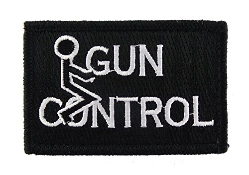 (FK Gun Control Tactical Funny Hook and Loop Morale Patch (Black and White))