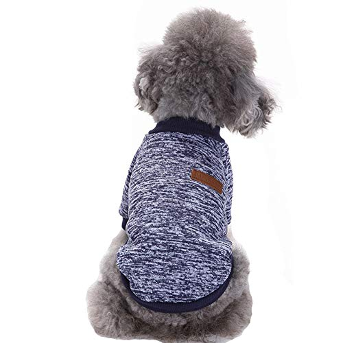 CHBORLESS Pet Dog Classic Knitwear Sweater Warm Winter Puppy Pet Coat Soft Sweater Clothing for Small Dogs (XL, Navy Blue)