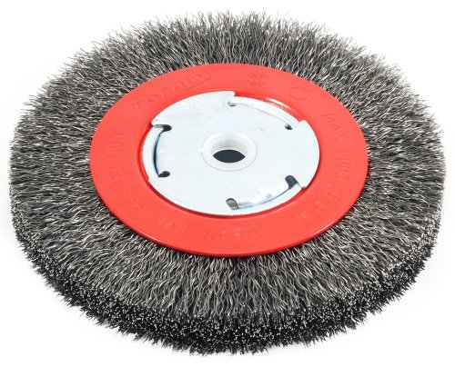 Forney 72750 Wire Bench Wheel Brush, Narrow Face Coarse Crimped with 1/2-Inch and 5/8-Inch Arbor, 6-Inch-by-.014-Inch