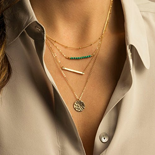 Artio Layered Pendant Necklace with Beads and Bar Sequin for Women and Girls NKP-529