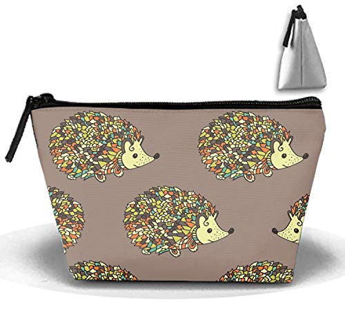 - Discus Hedgehog Portable Travel Cosmetic Bags Trapezoidal Makeup Pouch Clutch Bag
