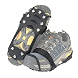SINGARE Traction Cleats Ice Snow Grips, Anti Slip 10 Steel Spikes, Attaches Over Shoes/Boots Safety in Winter, Unisex