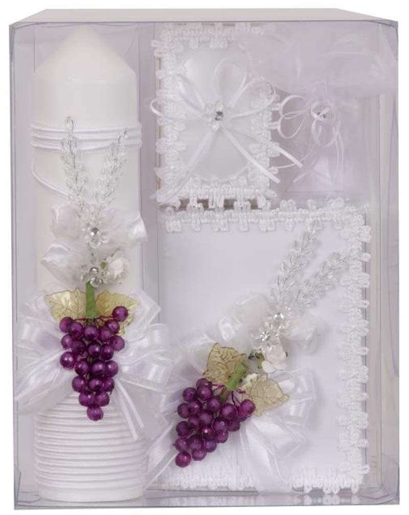 First Communion White Candle with Grapes Box Gift 5 Pc Set for Girls Spanish Missal Juego Vela Niña