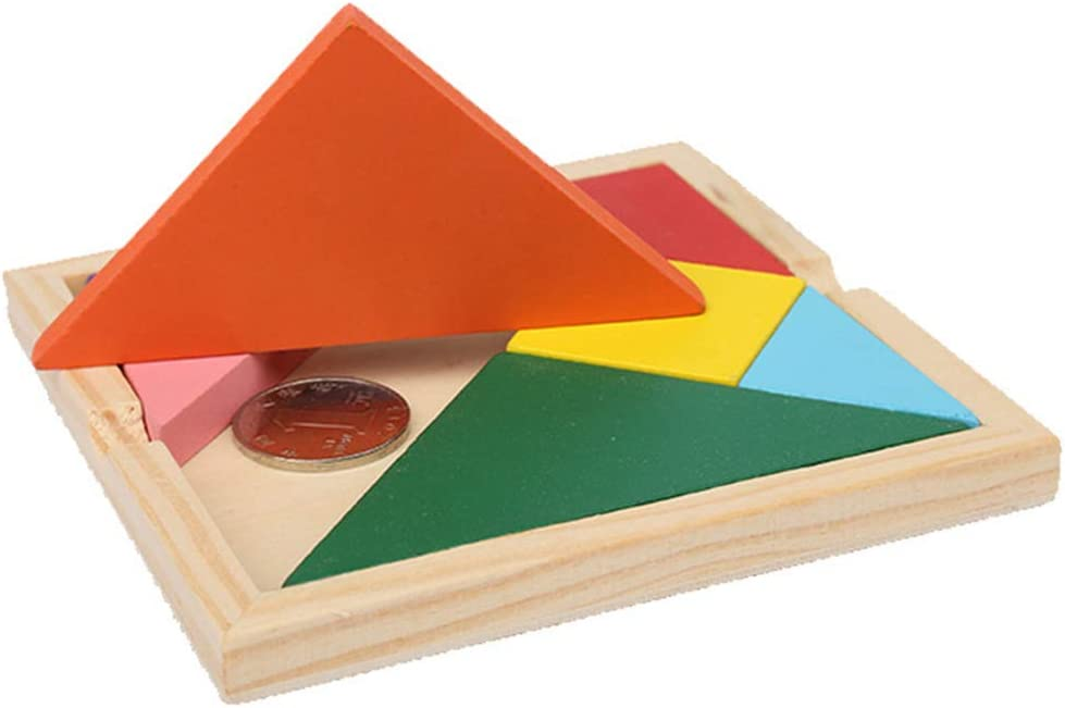 Educational Toys,Wooden Tangram Colorful Geometric Shape Jigsaw Puzzle Baby Kid Educational Toy
