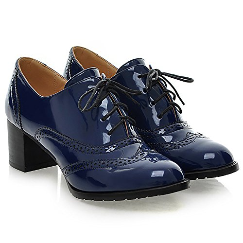 Brogue Tacchi In Womens Pu Scarpe Up Verniciata Blu Alti Dress Wingtip Pelle Chunky Pumps Odema Oxfords Lace pwdYPExqw5