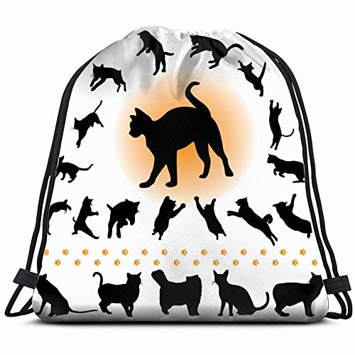 cats collection part 1 2 animals wildlife cat illustrations clip art Drawstring Backpack Gym Spacious Pull String Backpack Multifunctional storage bag 14.2 x 16.9 inch
