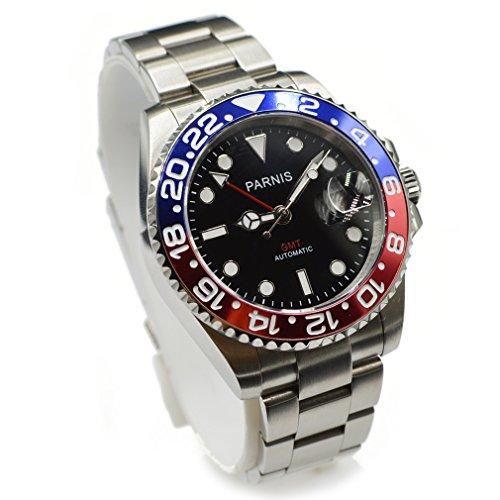 Parnis 40mm GMT Red Blue Pepsi Bezel Automatic Sapphire Watch - Pepsi Vintage Glasses