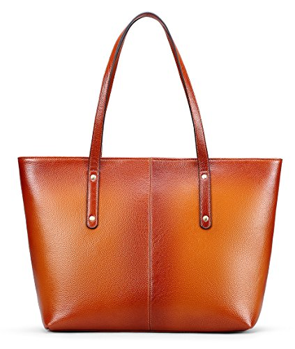 Imported Top Handle Bags - AINIMOER Women's Vintage Leather Tote Bag Handbags Shoulder Bags Top-handle Large Purse for Ladies(Sorrel)